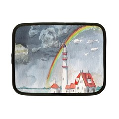 Watercolour Lighthouse Rainbow Netbook Case (small)  by Amaryn4rt