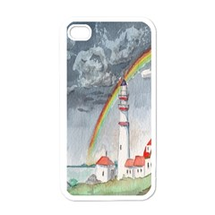 Watercolour Lighthouse Rainbow Apple Iphone 4 Case (white) by Amaryn4rt