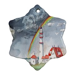 Watercolour Lighthouse Rainbow Snowflake Ornament (two Sides) by Amaryn4rt