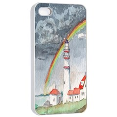 Watercolour Lighthouse Rainbow Apple Iphone 4/4s Seamless Case (white) by Amaryn4rt