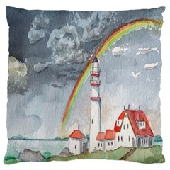 Watercolour Lighthouse Rainbow Large Cushion Case (two Sides) by Amaryn4rt