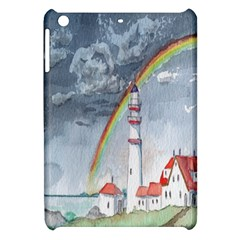 Watercolour Lighthouse Rainbow Apple Ipad Mini Hardshell Case by Amaryn4rt