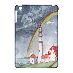 Watercolour Lighthouse Rainbow Apple Ipad Mini Hardshell Case (compatible With Smart Cover) by Amaryn4rt
