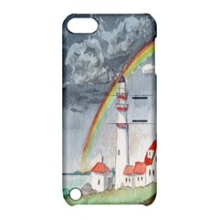Watercolour Lighthouse Rainbow Apple Ipod Touch 5 Hardshell Case With Stand by Amaryn4rt