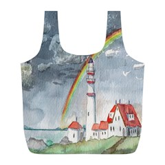 Watercolour Lighthouse Rainbow Full Print Recycle Bags (l)  by Amaryn4rt