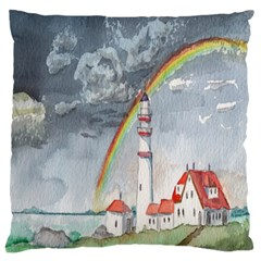 Watercolour Lighthouse Rainbow Standard Flano Cushion Case (two Sides) by Amaryn4rt
