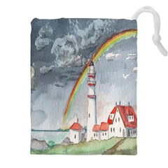 Watercolour Lighthouse Rainbow Drawstring Pouches (xxl) by Amaryn4rt