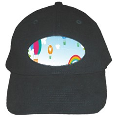 Landscape Sky Rainbow Garden Black Cap by Amaryn4rt