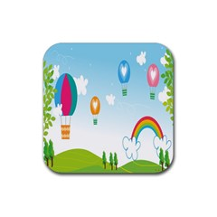 Landscape Sky Rainbow Garden Rubber Square Coaster (4 Pack)  by Amaryn4rt