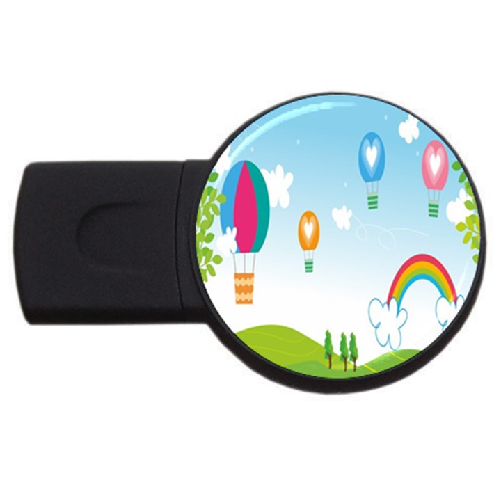 Landscape Sky Rainbow Garden USB Flash Drive Round (4 GB)