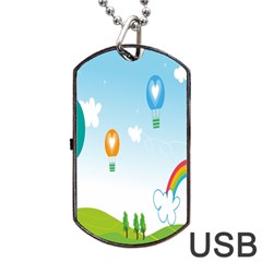 Landscape Sky Rainbow Garden Dog Tag Usb Flash (two Sides) by Amaryn4rt