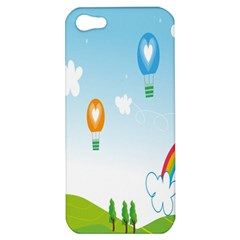 Landscape Sky Rainbow Garden Apple Iphone 5 Hardshell Case by Amaryn4rt