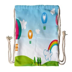 Landscape Sky Rainbow Garden Drawstring Bag (large) by Amaryn4rt