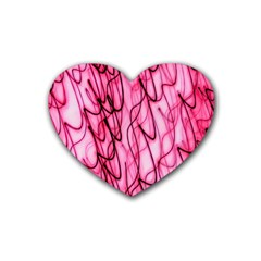 An Unusual Background Photo Of Black Swirls On Pink And Magenta Heart Coaster (4 Pack)  by Amaryn4rt