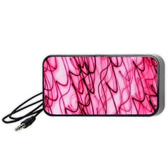 An Unusual Background Photo Of Black Swirls On Pink And Magenta Portable Speaker (black) by Amaryn4rt