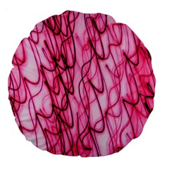 An Unusual Background Photo Of Black Swirls On Pink And Magenta Large 18  Premium Flano Round Cushions by Amaryn4rt