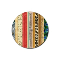 Digitally Created Collage Pattern Made Up Of Patterned Stripes Rubber Coaster (round)  by Amaryn4rt