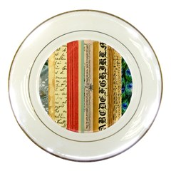 Digitally Created Collage Pattern Made Up Of Patterned Stripes Porcelain Plates by Amaryn4rt