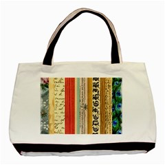 Digitally Created Collage Pattern Made Up Of Patterned Stripes Basic Tote Bag by Amaryn4rt