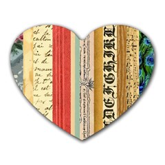Digitally Created Collage Pattern Made Up Of Patterned Stripes Heart Mousepads by Amaryn4rt