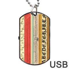 Digitally Created Collage Pattern Made Up Of Patterned Stripes Dog Tag Usb Flash (one Side) by Amaryn4rt