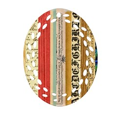 Digitally Created Collage Pattern Made Up Of Patterned Stripes Oval Filigree Ornament (two Sides) by Amaryn4rt