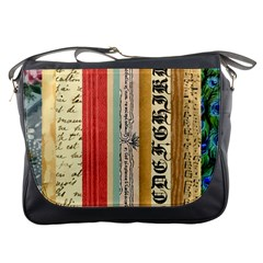 Digitally Created Collage Pattern Made Up Of Patterned Stripes Messenger Bags by Amaryn4rt