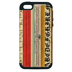 Digitally Created Collage Pattern Made Up Of Patterned Stripes Apple Iphone 5 Hardshell Case (pc+silicone) by Amaryn4rt