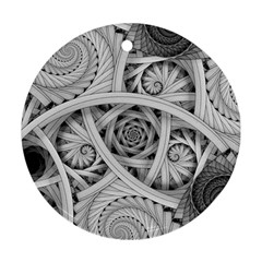 Fractal Wallpaper Black N White Chaos Ornament (round) by Amaryn4rt