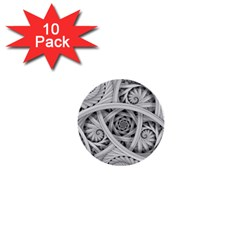 Fractal Wallpaper Black N White Chaos 1  Mini Buttons (10 Pack)  by Amaryn4rt