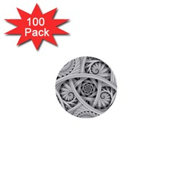 Fractal Wallpaper Black N White Chaos 1  Mini Buttons (100 Pack)  by Amaryn4rt