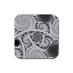 Fractal Wallpaper Black N White Chaos Rubber Square Coaster (4 Pack)  by Amaryn4rt