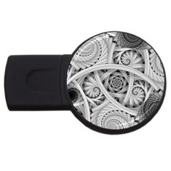 Fractal Wallpaper Black N White Chaos Usb Flash Drive Round (4 Gb) by Amaryn4rt