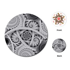 Fractal Wallpaper Black N White Chaos Playing Cards (round)  by Amaryn4rt