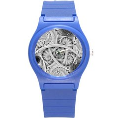 Fractal Wallpaper Black N White Chaos Round Plastic Sport Watch (s) by Amaryn4rt