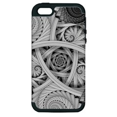 Fractal Wallpaper Black N White Chaos Apple Iphone 5 Hardshell Case (pc+silicone) by Amaryn4rt