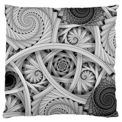 Fractal Wallpaper Black N White Chaos Large Flano Cushion Case (two Sides) by Amaryn4rt
