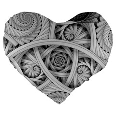 Fractal Wallpaper Black N White Chaos Large 19  Premium Flano Heart Shape Cushions by Amaryn4rt
