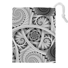 Fractal Wallpaper Black N White Chaos Drawstring Pouches (xxl) by Amaryn4rt