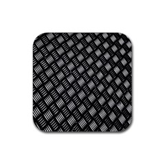 Abstract Of Metal Plate With Lines Rubber Coaster (square)  by Amaryn4rt