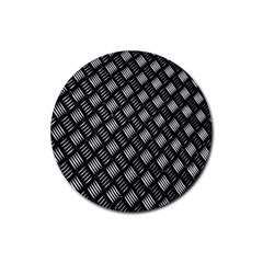 Abstract Of Metal Plate With Lines Rubber Coaster (round)  by Amaryn4rt