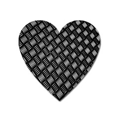 Abstract Of Metal Plate With Lines Heart Magnet by Amaryn4rt