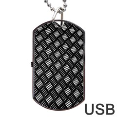 Abstract Of Metal Plate With Lines Dog Tag Usb Flash (one Side) by Amaryn4rt