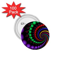 Fractal Background With High Quality Spiral Of Balls On Black 1 75  Buttons (100 Pack)  by Amaryn4rt