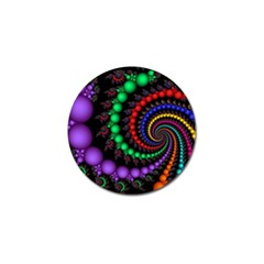 Fractal Background With High Quality Spiral Of Balls On Black Golf Ball Marker by Amaryn4rt