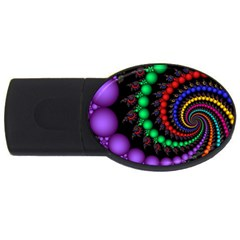 Fractal Background With High Quality Spiral Of Balls On Black Usb Flash Drive Oval (2 Gb)