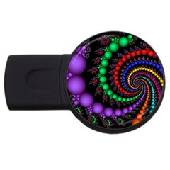 Fractal Background With High Quality Spiral Of Balls On Black Usb Flash Drive Round (4 Gb)