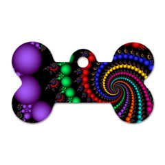 Fractal Background With High Quality Spiral Of Balls On Black Dog Tag Bone (one Side) by Amaryn4rt