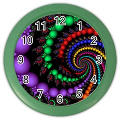 Fractal Background With High Quality Spiral Of Balls On Black Color Wall Clocks by Amaryn4rt