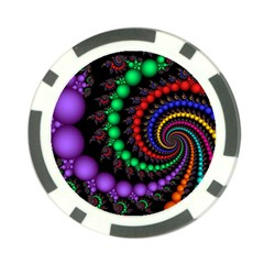 Fractal Background With High Quality Spiral Of Balls On Black Poker Chip Card Guard by Amaryn4rt